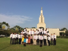 Half of us in front of the Accra temple (I am on the far right).