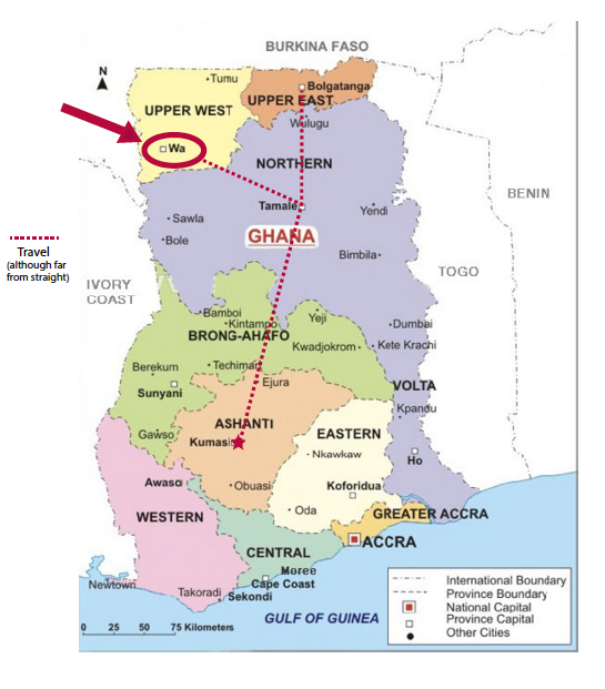 Map of Ghana - Wa